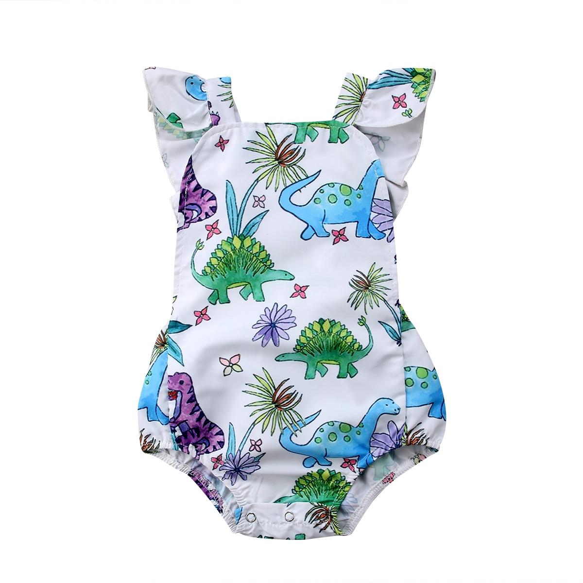 Pudcoco 0-24M Newborn Baby Girls Dinosaur Print   Romper   Sleeveless Baby Girl Summer Jumpsuit Playsuit Baby Girl Clothes