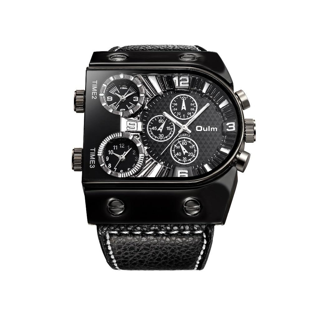 OULM Sport Watch Men Quartz Analog Clock 3 Time Zone Sub-dials Design Big case Oversize Fashion Black Wrist Watches relogio 12