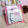 Free Shipping 50pcs/lot Cookie Packaging Plastic Bags Hello Kitty Self-adhesive Bags for Biscuits Snack Baking Package 10X10cm