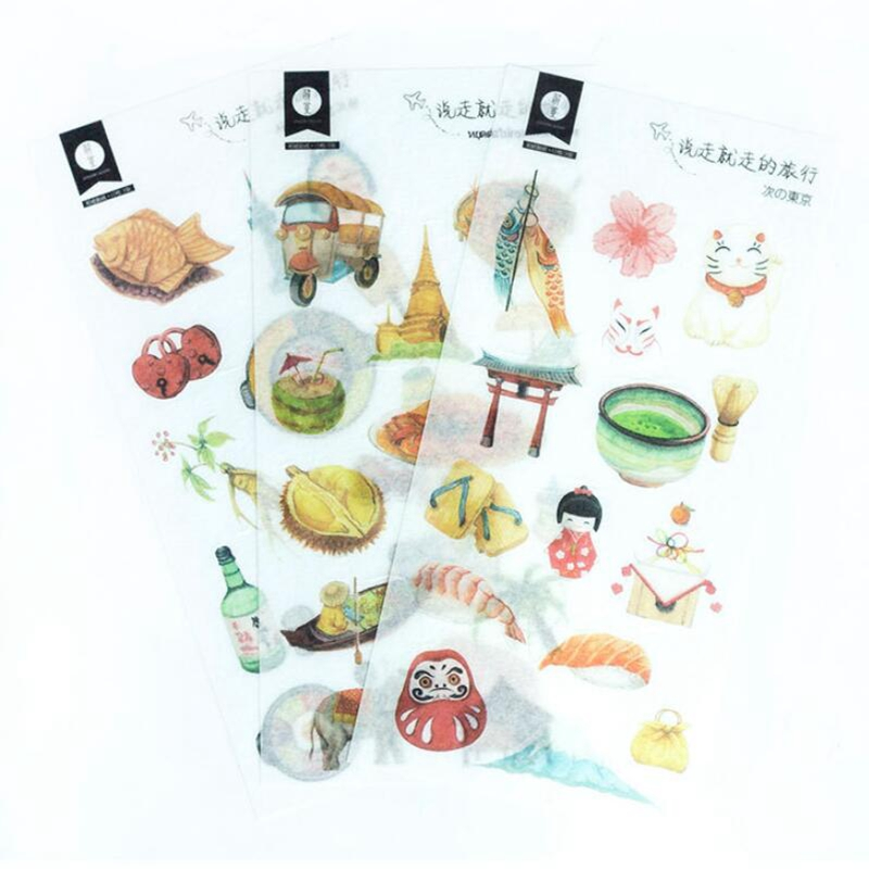 Japanese Travel Diary Paper Sticker Decoration Diary Scrapbooking Label Sticker Kawaii Stationery Stickers School SuppliesJapanese Travel Diary Paper Sticker Decoration Diary Scrapbooking Label Sticker Kawaii Stationery Stickers School Supplies