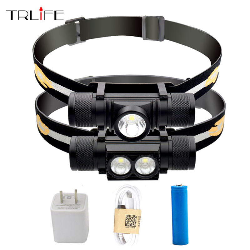 Waterproof USB CREE XM L2/T6 LED Headlamp Headlight Bicycle Torch Head Flashlight Led Bike Light with 18650 Rechargeable Battery