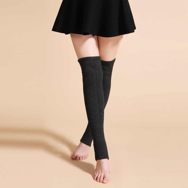 새로운 디자인 여성 겨울 따뜻한 솔리드 레그 워머 양모 뜨개질 높은 무릎 양말 가을 프릴 트림 레그 워머 부팅 토퍼 양말