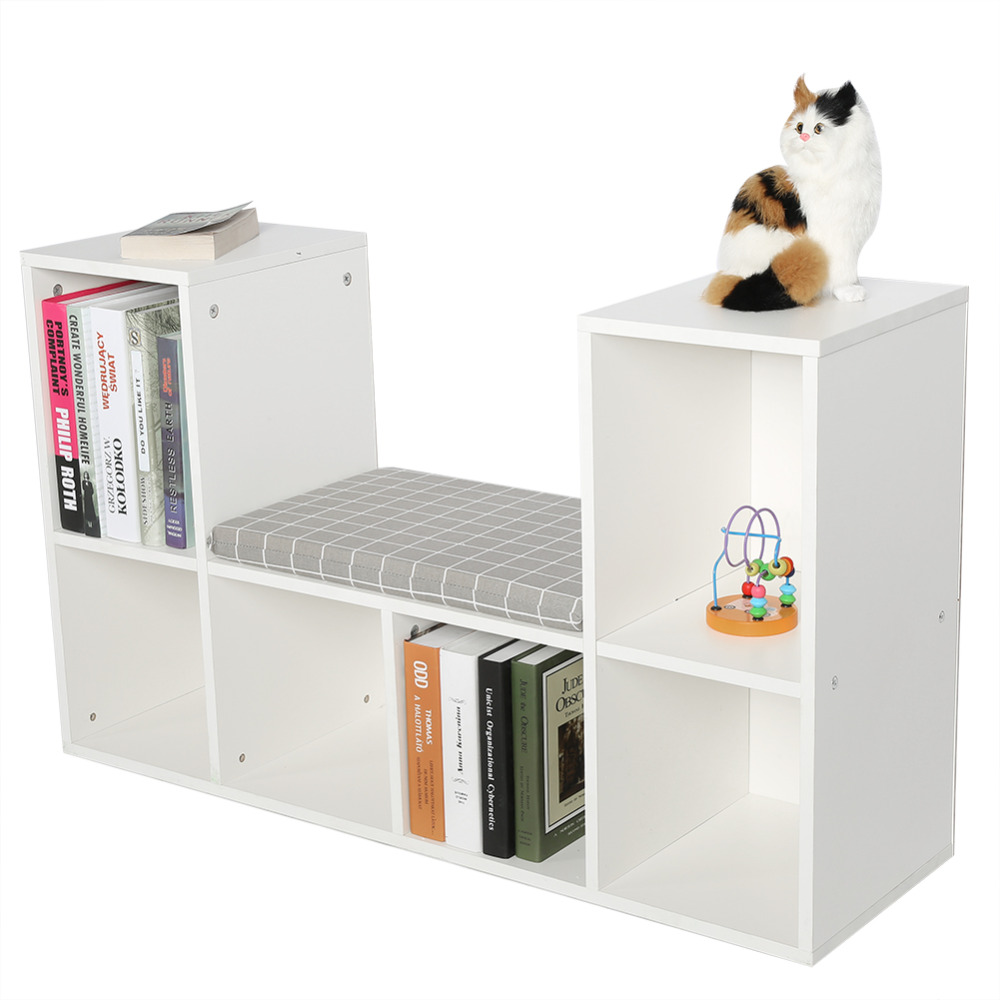 Shelf Reading Nook Storage-Rack With Home Office-Book Bookcase Multi-Functional Wooden