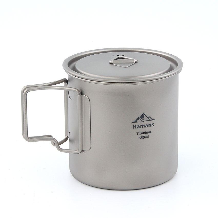 лучшая цена HAMANS HMS-POT-650 Ultralight Titanium Pot Folding Handle Outdoor Camping Titanium Cup Titanium Bowl 650ml
