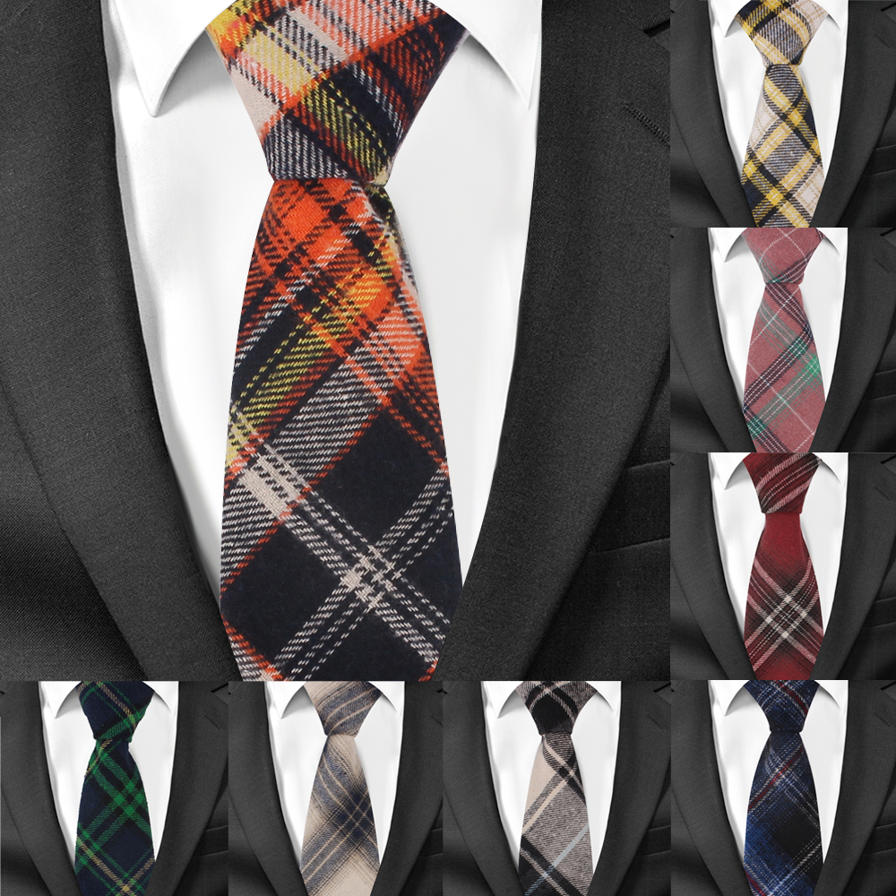 Adjustable Plaid Ties Skinny Cotton Neck tie For Men Suits Mens Slim Necktie For Business Cravats 7cm Width Groom Neckties(China)
