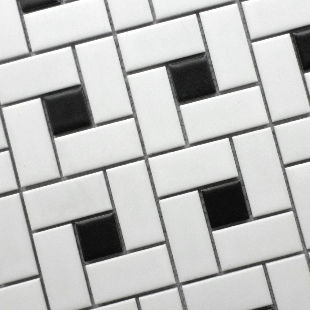 11 square feet black and white brick ceramic mosaic tile kitchen ...