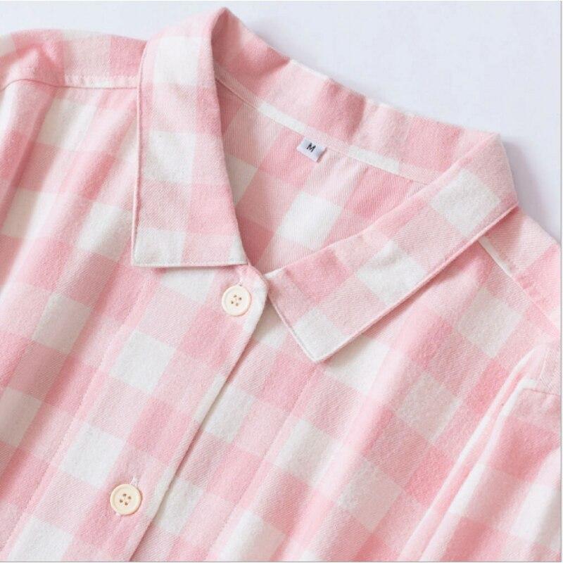 2019 Осенняя брендовая ночная рубашка Женская Повседневная клетчатая домашнее платье женская ночная рубашка с стоячим воротником Дамская ночная рубашка из 100% хлопка