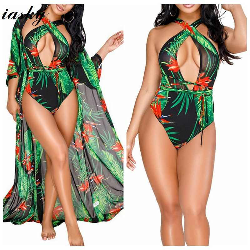 a9a673253d IASKY 2018 Print Green Leaves one Piece swimsuit +Beach Cover Ups Set Sexy  women Deep