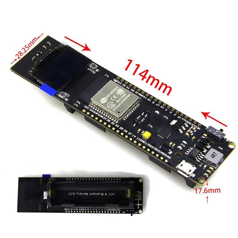 WiFi & Bluetooth ESP32 développement Conseil avec 0.96 pouce OLED + 18650 de charge Batterie Cas