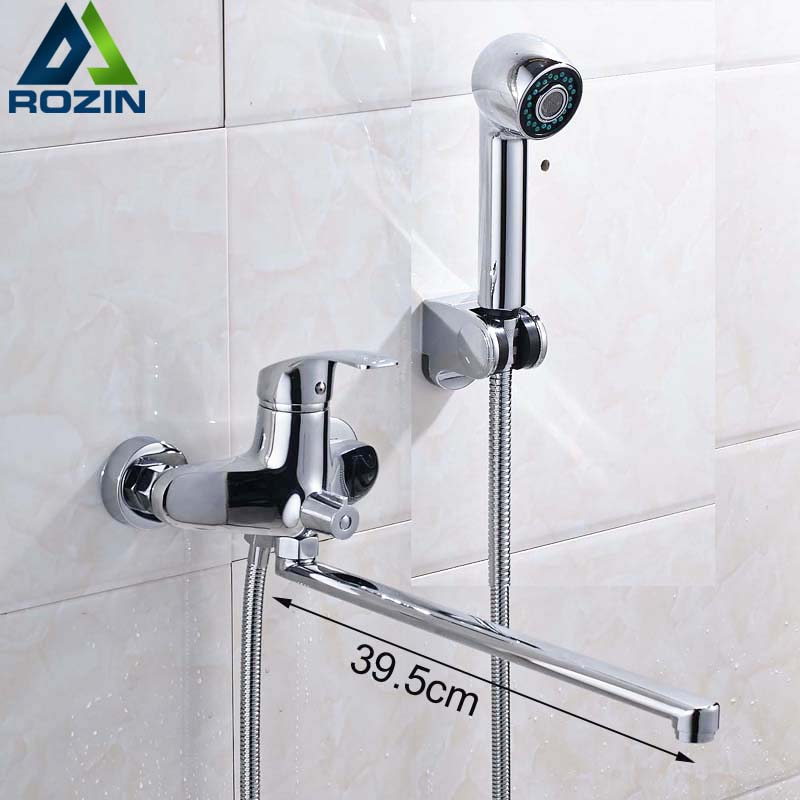 Wall Mounted Brass Chrome 395mm Length Outlet Rotated Bath Shower Faucet With ABS Shower Head and Handshower Bracket