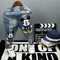 Calças de brim Para Meninos Jeans Rasgados Mickey Calças Jeans Casual Meados Cintura Elástica calças Soltas Crianças Jeans Para Meninas Crianças Roupas