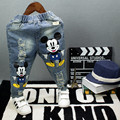Jeans For Boys Ripped Jeans Mickey Denim Pants Casual Mid Elastic Waist Loose Kids Jeans For Girls Children Clothing
