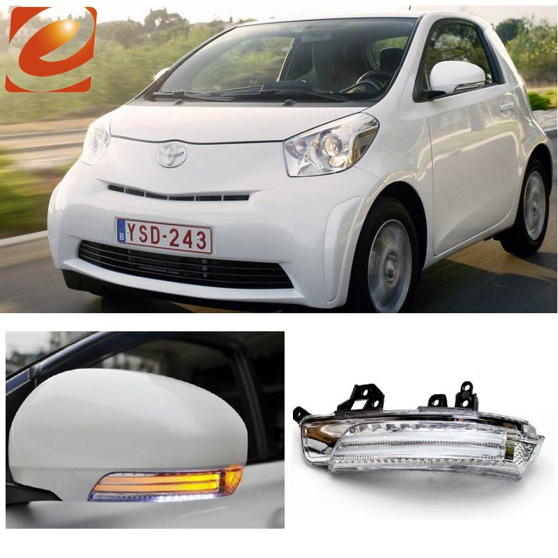 eeMrke For Toyota IQ 3in1  Side Rear View Mirror Lights LED DRL Turn Signals Irradiated Ground Lights eemrke for toyota voxy 2007 2008 2009 2010 2011 2012 2013 side rear view mirror lights led drl turn signals