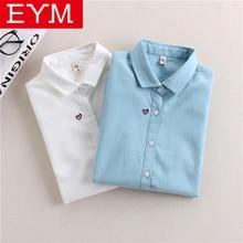 Брендовые женские блузки с вышивкой, новинка, Весенняя женская блузка с длинным рукавом, хлопок, Оксфорд, повседневные белые рубашки, женские топы, одежда