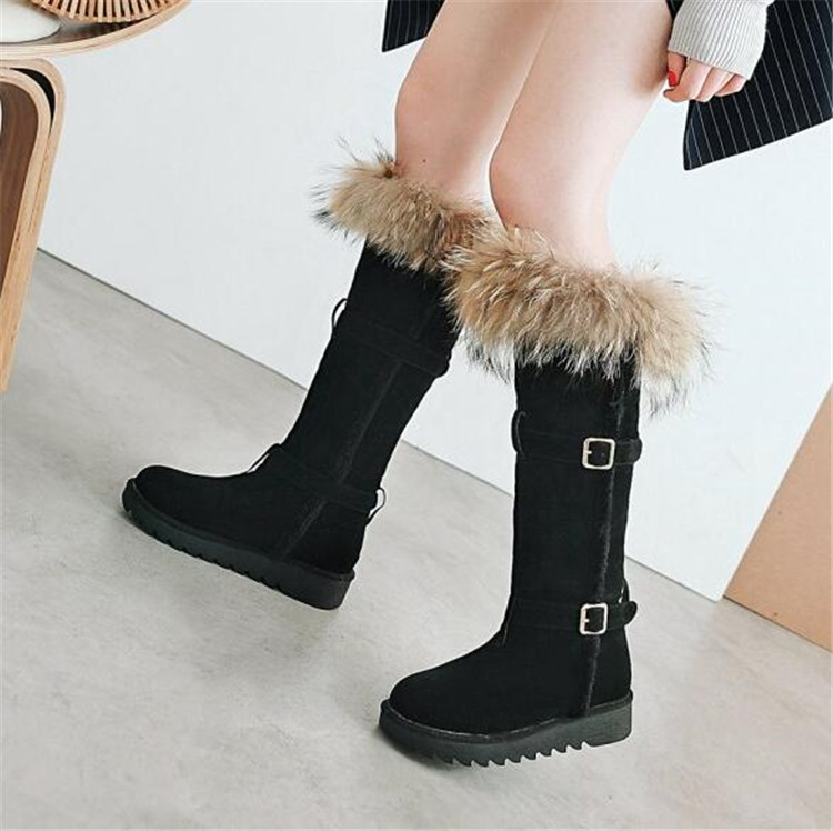 Pxelena Femeninos Conejo Caliente Piel Rodilla 2018 Comodidad Beige negro Mujeres Lujo Invierno Nuevo Decoración Plana Larga De Plataforma Botas Zapatos Nieve fAwrfTnx