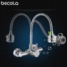Stal nierdzewna ścienny kuchnia kran ścienny kuchnia miksery kran zlewu kuchennego 360 stopni obrotowy elastyczny wąż podwójne otwory