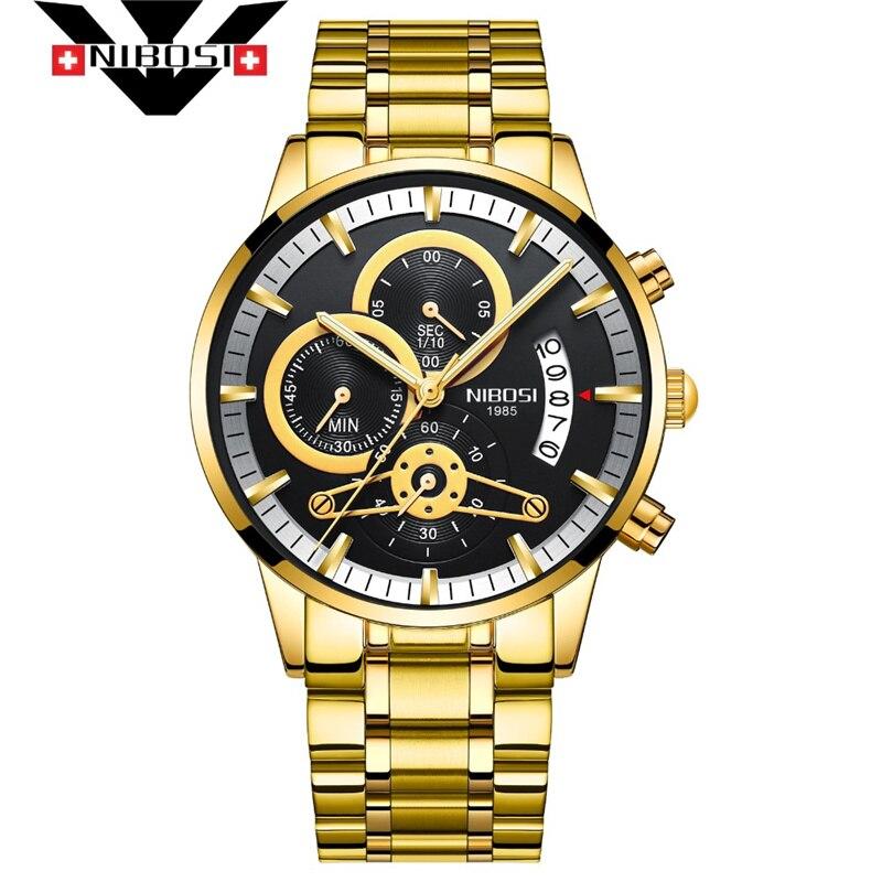 NIBOSI hombres relojes de lujo de marca hombre reloj cronógrafo militar impermeable cuarzo reloj de pulsera reloj Masculino