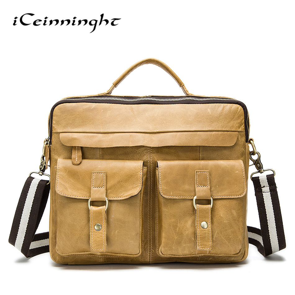 iCeinnight Top Sell Fashion Simple Dot Famous Brand Business Men Briefcase Bag Leather Laptop Bag Casual Man Bag Shoulder Bags