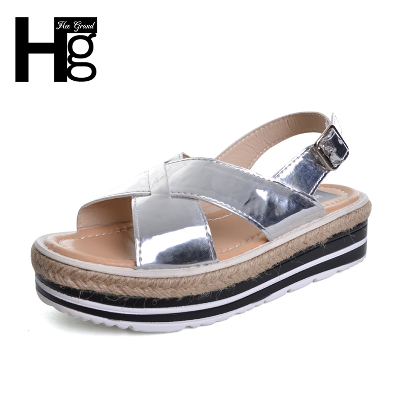 HEE GRAND 2017 Summer Gladiator Sandals Straw Platform Daily Silver Shoes Woman Slip On Casual Women Flat with Shoes XWZ3887 hee grand lace up gladiator sandals 2017 summer platform flats shoes woman casual creepers fashion beach women shoes xwz4085