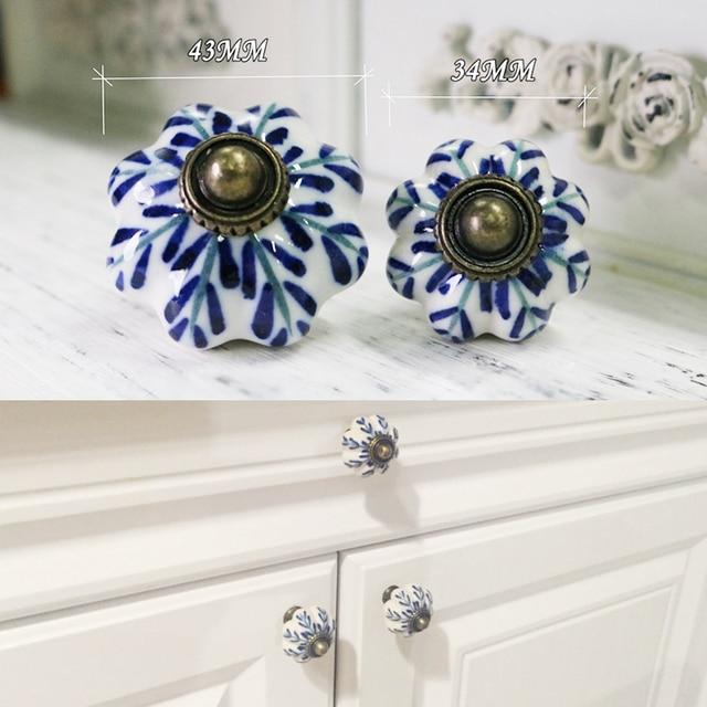 Blue And White Porcelain Ceramic Door S For Kitchen Cabinets Cupboard Pulls Drawer European Furniture Handle Handware