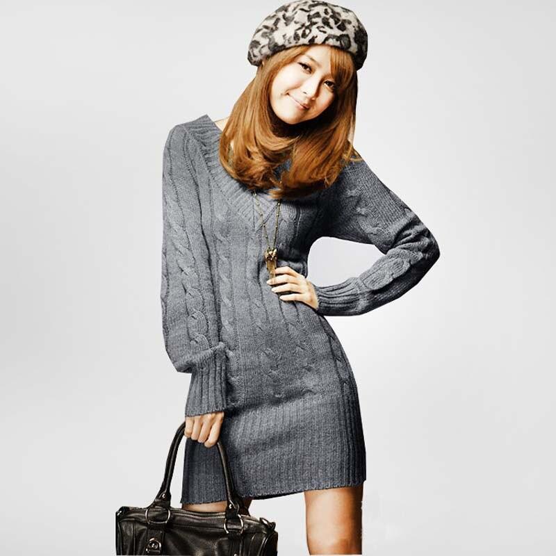 Mode À Manches Longues Chaud Lady Femmes Hiver Robe En Tricot Mince V  Tunique à Col Chandail Robe H3056 dans Robes de Mode Femme et Accessoires  sur ... 4c0b156b7ad8