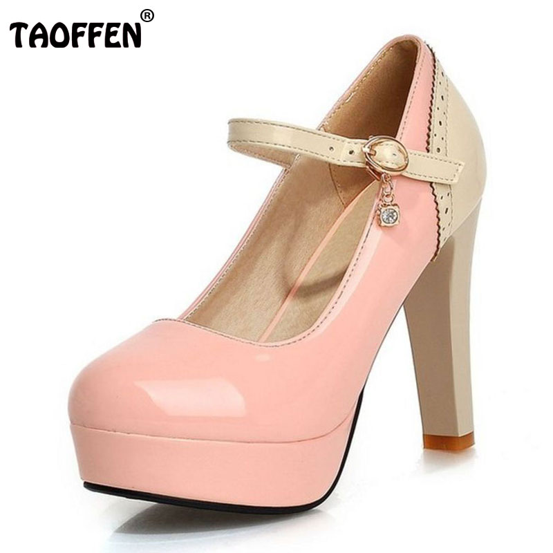 TAOFFEN 5 Colors Size 32-43 Office Lady High Heel Shoes Women Ankle Strap Platform Thin Heels Pumps Party Wedding Women Footwear kemekiss size 31 45 women sweet high heel shoes women ruffle ankle strap thick heels pumps party daily work shoes women footwear