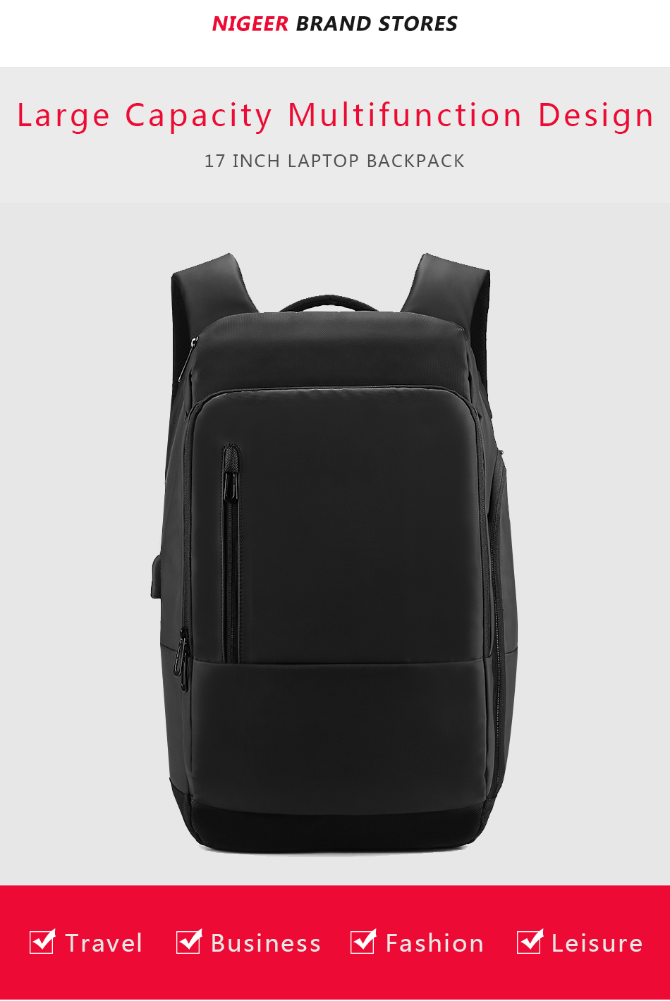 5e1a75c1bb New Style 17 Inch Laptop Backpack For Men Business Waterproof ...