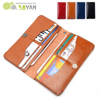 Luxury Genuine PU Leather Universal Wallet Phone Pouch Case For IPhone 6 6S Plus 5S 5