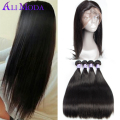 5pcs/lot 8A 360 Lace Frontal With Bundles Malaysian Virgin Hair Straight Human Hair Weave With 360 Lace Frontal Ali Moda Hair