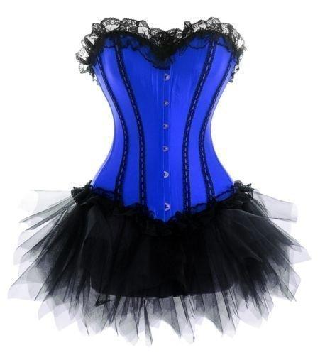 Envío gratis azul satinado busiter corsé de encaje boned lace up costume showgirl S-6XL más el tamaño del corsé + g-String + mini faldas del tutú