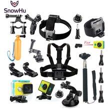 SnowHu dla Xiaomi Yi akcesoria zestaw wodoodporna obudowa ochronna ramka na klatkę piersiową pas do montażu Monopod dla Xiao yi Camera GS47