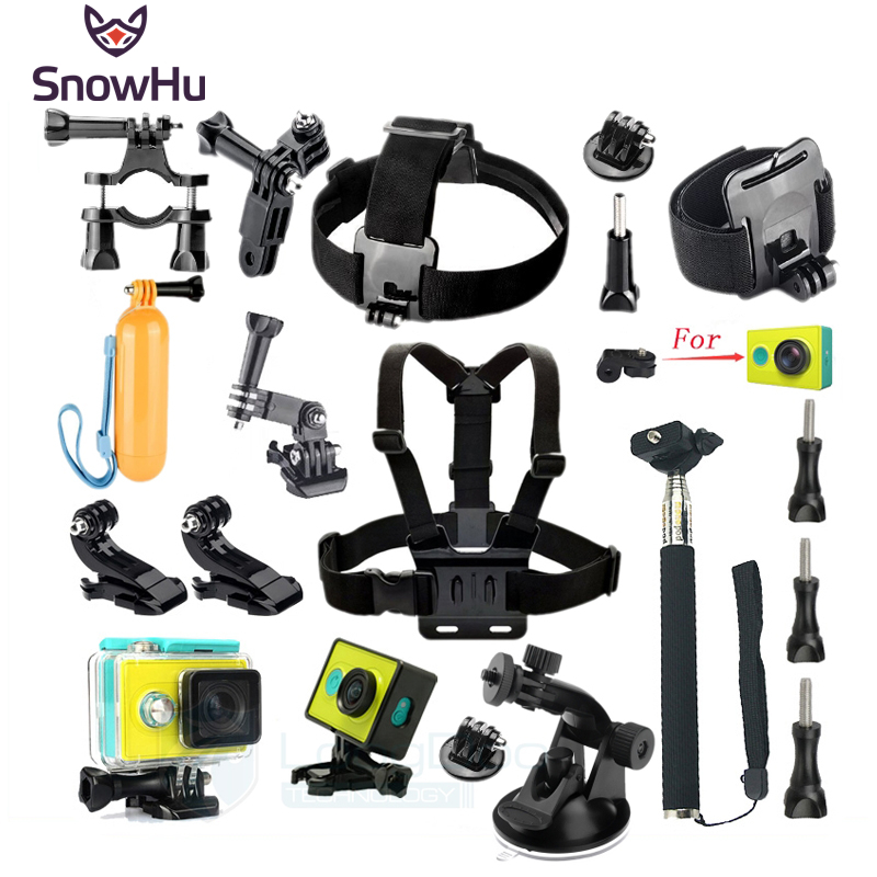 SnowHu for Xiaomi Yi Accessories Set Wateraproof Case Protective Border Frame Chest Belt Mount Monopod For Xiao yi Camera GS47 gopro hero 5 accessories set helmet harness chest belt head mount strap monopod for go pro sports action camera accessories kit
