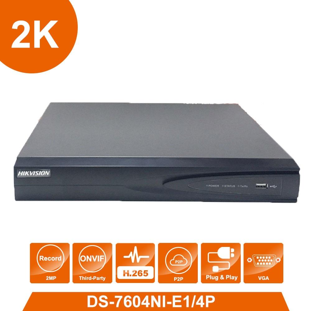 D'origine Hik vision Anglais Version DS-7604NI-E1/4 p 4 POE ports 4ch Caméras plug & play NVR avec POE injecteur pour Russion ami