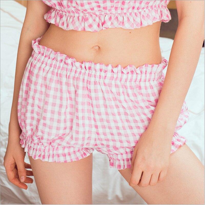Women Plaid Sleep Bottoms 100%Cotton Cute Sweet Elegant Summer Shorts Color Top Quality For Women