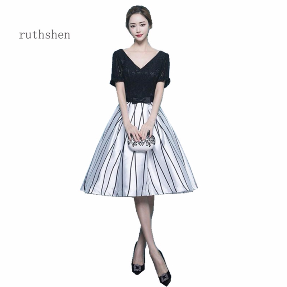 ruthshen Luxury Elegant Short   Cocktail     Dresses   With Bow A Line Lace Formal Party Gown Vestido Formal Party   Dress   Vestido Cocktel