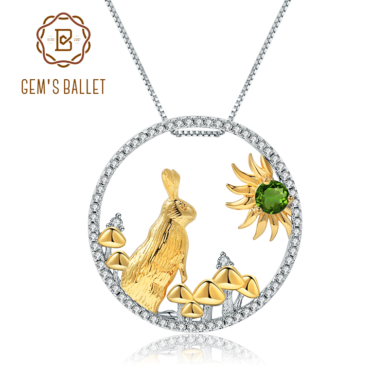 GEM'S BALLET 925 Sterling Silver Handmade Rabbit Mushrooms Natural Chrome Diopside Pendant Necklace For Women Zodiac Jewelry