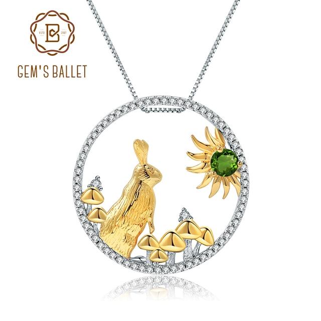 GEMS BALLETT 925 Sterling Silber Handgemachte Kaninchen Pilze Natürliche Chrom Diopsid Anhänger Halskette Für Frauen Sternzeichen Schmuck