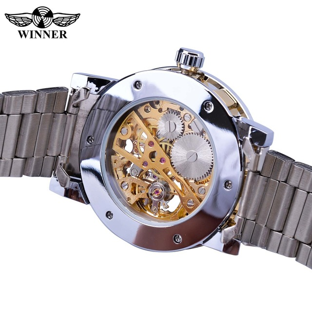 Winner Transparent Fashion Diamond Display Luminous Hands Gear Movement Retro Royal Design Men Mechanical Skeleton Wrist Watches 3