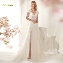 Loverxu V-Neck Sheath Wedding Dress Bride Dress Court Train