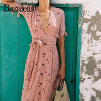 Bazaleas Vintage waist tie Wrap vestidos Fashion Pink Floral print women dress v neck Split women split Dresses drop shipping