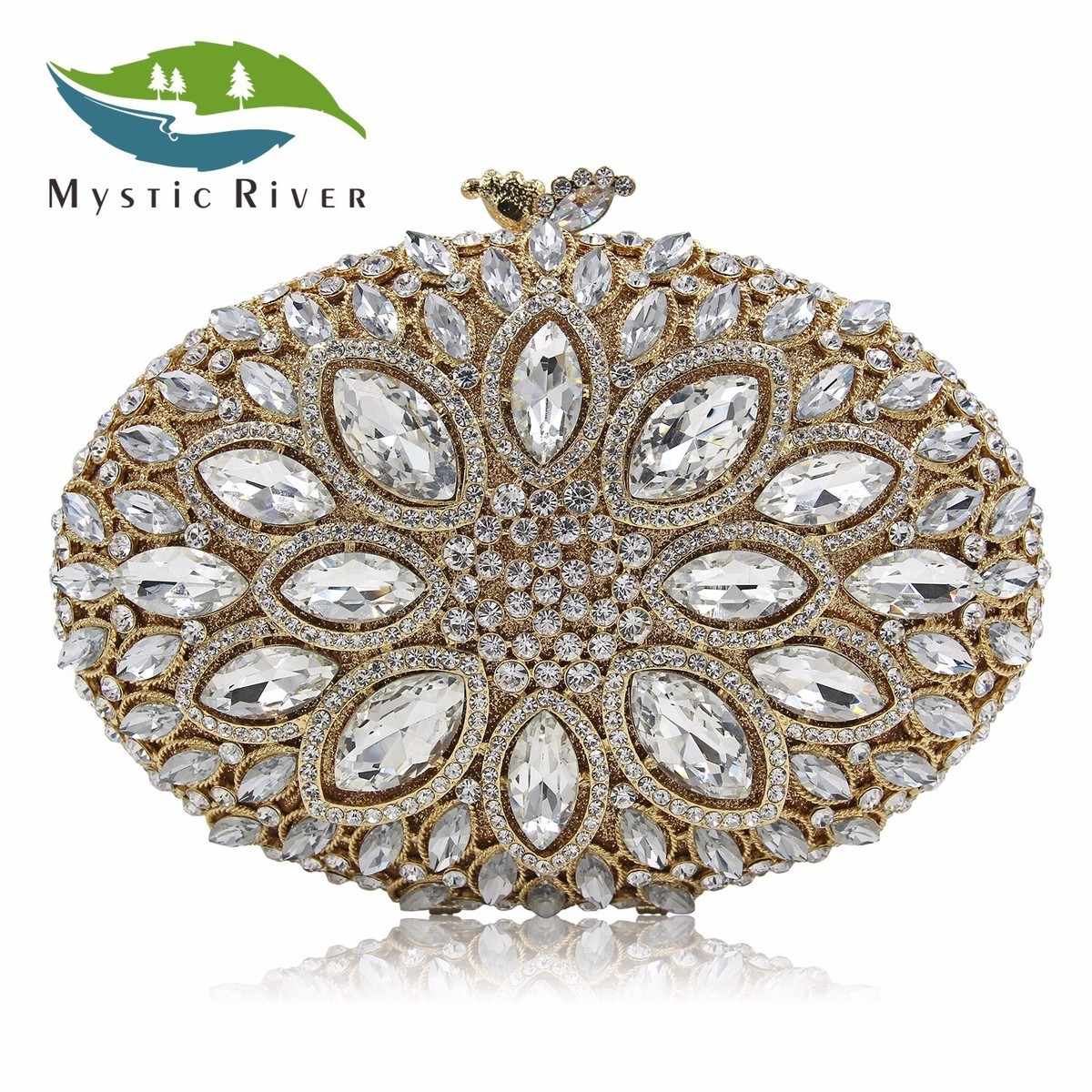 Mystic River Women Crystal Stones Evening Bags Ladies Luxury Oval Shape Party Bag Female Wedding Clutches Purses Withe Gold free shipping a15 36 sky blue color fashion top crystal stones ring clutches bags for ladies nice party bag