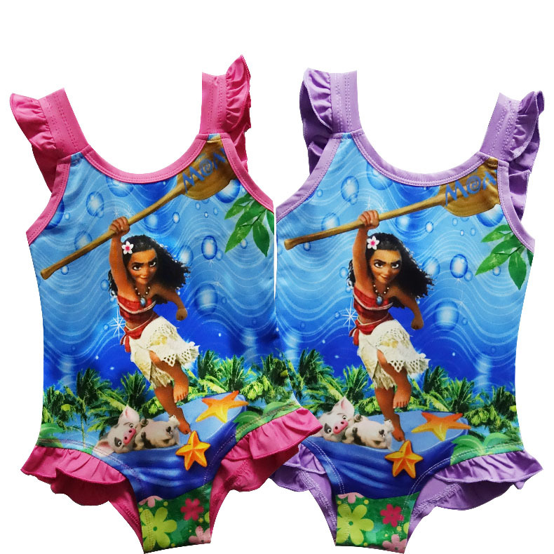 NEW Summer Baby girls Moana Swimsuit Beachwear Girls Swimmable Bodysuit Swimsuit Cosplay Costume One-pieces Bikini Swimsuit
