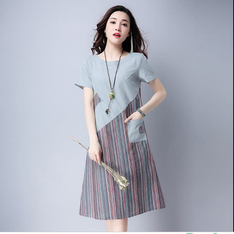 2018 Women Summer Linen cotton Floral Striped Vintage Retro Style Female O-Neck Short sleeve Pocket Casual Loose Dresses CM009 5