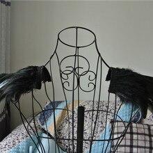 Ручной работы черный Петух coque перо epaulette колодки карнавал перо плечо пожигание Человек фестиваль эполеты