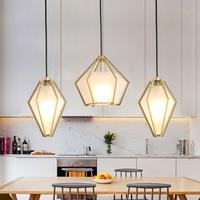 Nordic Modern Restaurant Glass Pendant Lights Coffee Shop Bar Led Lamp Personalized Retro Creative Diamond Lamps Lighting