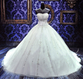 Custom 2017 Luxurious Ball Gown Wedding Dresses Real Image Sweetheart Cathedral Train Lace-up Beading Crystal Bridal Gown 425132