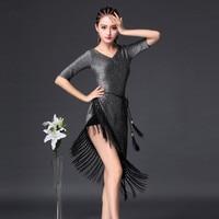 2018 Nuovo collare V cha cha samba tango vestito da ballo latino per le donne Argento scarpe da ballo latino concorrenza costume