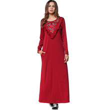 #1865294#N Ew Embroidered Long-sleeved Solid Red Euramerica Children Wear Middle East Muslim Dresses Fashion Mujer Vestidos