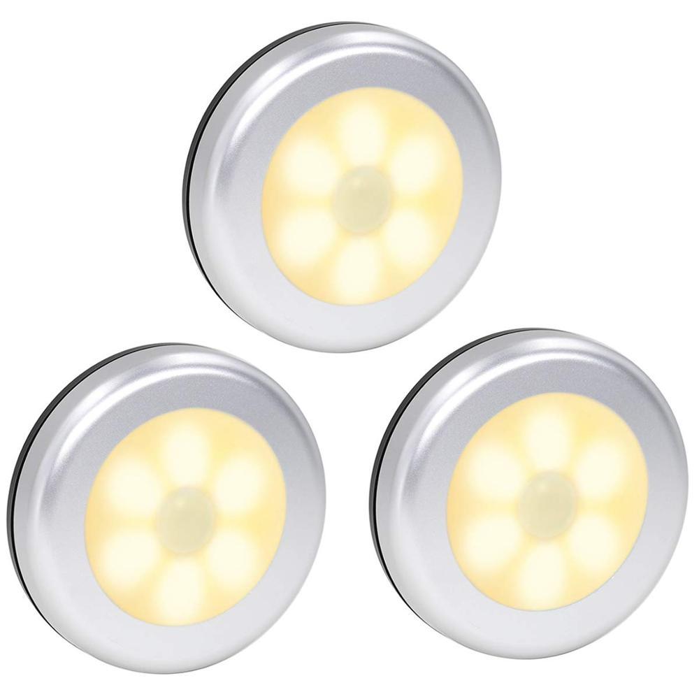 PIR Motion Sensor 6leds Led Under Cabinet Lights Dry Battery Night Light Wireless wall Lamp kitchen stair warm white Lighting Under-cabinet lighting