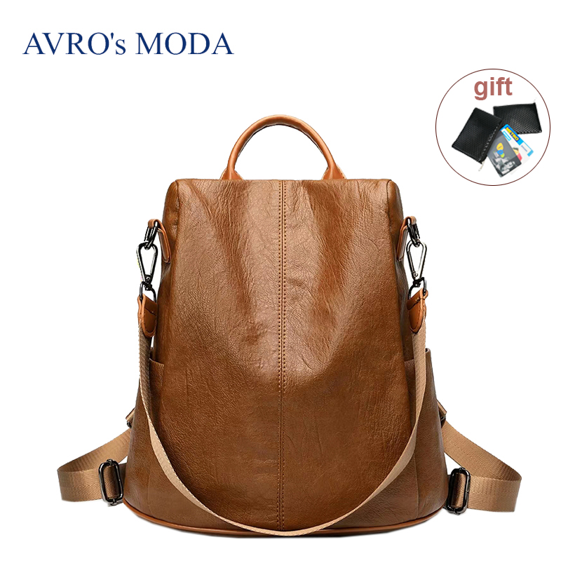 High quality fashion artificial leather anti-theft women backpack mochila feminina female large capacity laptop school backpack